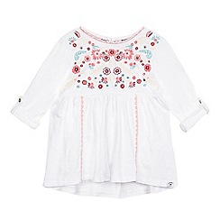 Mantaray - Girls' white floral embroidered top