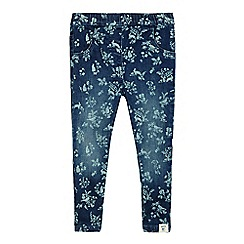 Mantaray - Girls' dark blue forest scene print jeggings