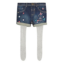 Mantaray - Girls' blue embroidered denim shorts with tights