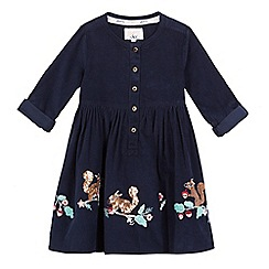 Mantaray - Girls' navy long sleeve cord embroidery dress