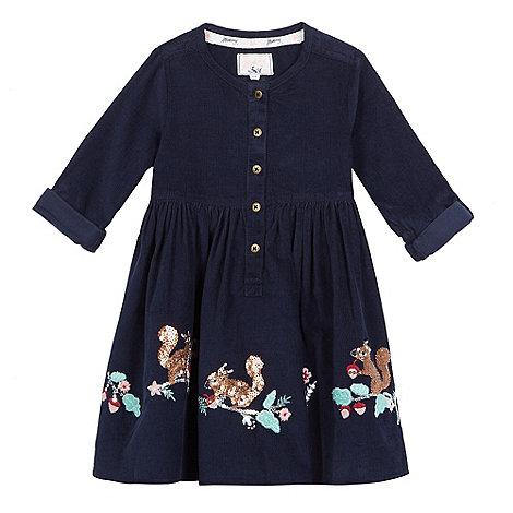 Mantaray - Girls+ navy long sleeve cord embroidery dress