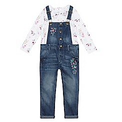 Mantaray - Girls' blue dungaree and top set
