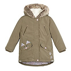 Mantaray - Girls' khaki cat pocket parka jacket