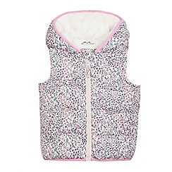 Mantaray - Girls' light pink ditsy print hooded gilet