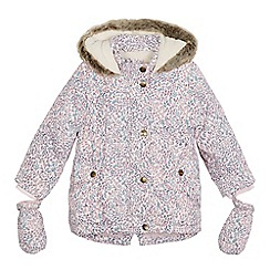 Mantaray - Girls' pink ditsy print coat with removable mittens