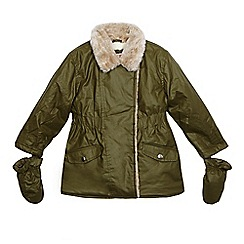 bluezoo - Girls' khaki waxed parka coat and removable mittens set