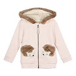 Mantaray - Girls' pink hedgehog applique hoodie