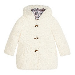 Mantaray - Girls' cream borg duffle coat