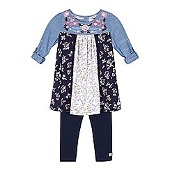 Mantaray - Girls' multi-coloured ditsy print panel top and navy leggings set