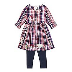Mantaray - Girls' pink checked woodland animals applique dress and navy leggings set