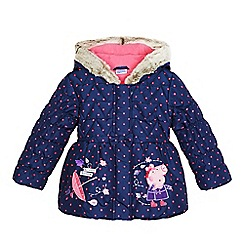 Peppa Pig - Girls' navy 'Peppa Pig' applique coat