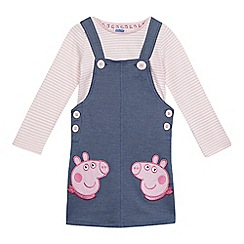 Peppa Pig - Girls' pink and light blue embroidered pinafore and top set