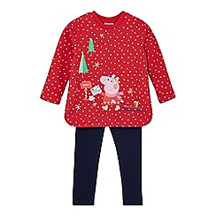 Peppa Pig - Girls' red 'Peppa Pig' applique jumper and navy leggings set