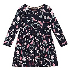 bluezoo - Girls' navy unicorn print jersey dress