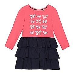 bluezoo - Girls' bright pink butterfly print rara dress