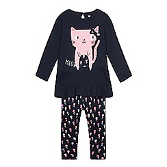bluezoo - Girls' navy cat applique top and leggings set