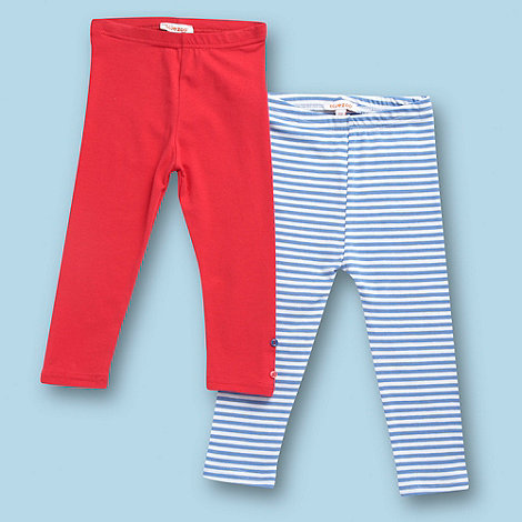 bluezoo - Girl's pack of two red and blue striped leggings