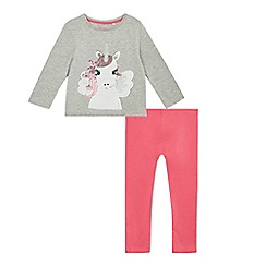 bluezoo - Girls' grey sequin unicorn top and leggings