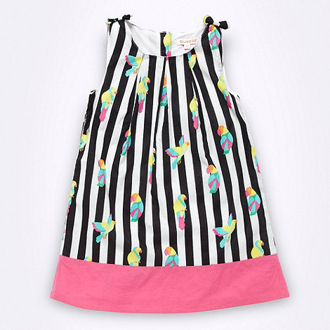 bluezoo - Girl+s black striped parrot dress