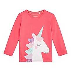 bluezoo - Girls' pink unicorn appliqu  top