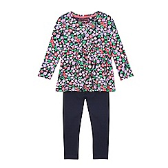 bluezoo - Girls' multi-coloured floral print tunic and navy leggings set