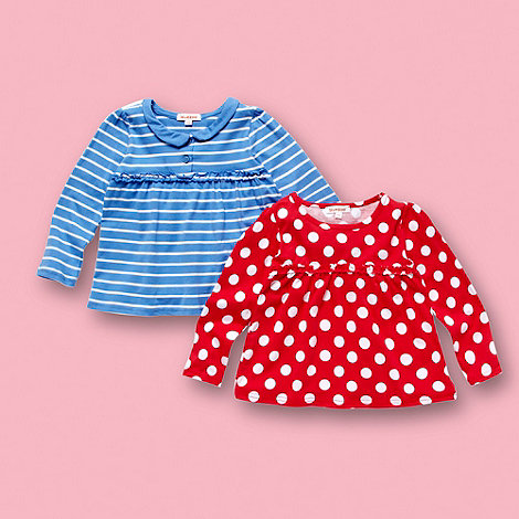 bluezoo - Girl+s pack of two pink spotted and blue striped tunic tops