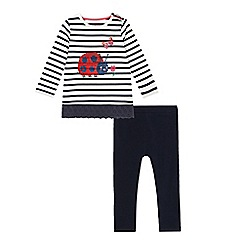bluezoo - Girls' navy ladybug print top and leggings set