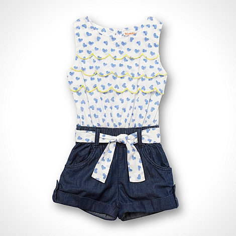 bluezoo - Girl+s blue heart print scallop edge playsuit