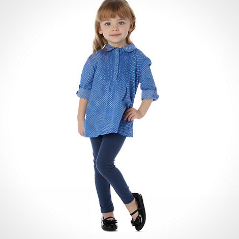 bluezoo - Girl+s blue spotted tunic and leggings set