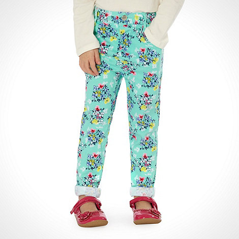 bluezoo - Girl+s aqua floral skinny jeans