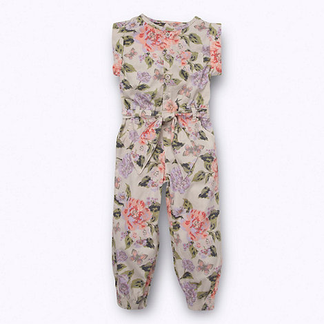 bluezoo - Girl+s cream woven floral jumpsuit