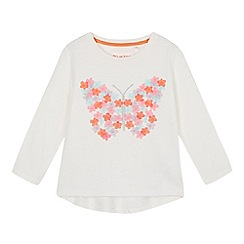 bluezoo - Girls' white butterfly embroidered t-shirt