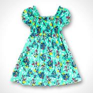 Girl's light green floral shirred dress