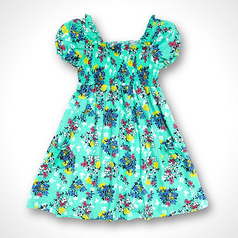 bluezoo - Girl+s light green floral shirred dress