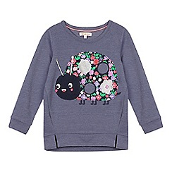 bluezoo - Girls' light blue applique ladybird jumper