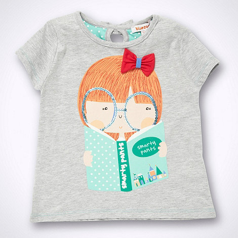 bluezoo - Girl+s grey reading motif t-shirt