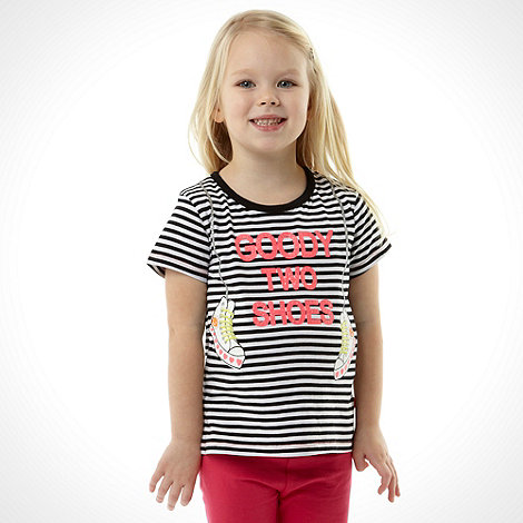 bluezoo - Girl+s black striped +Goody Two Shoes+ t-shirt