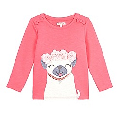 bluezoo - Girls' pink pug and flower applique jumper