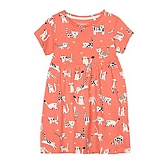 bluezoo - Girls' orange cat print jersey dress