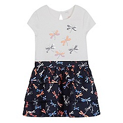 bluezoo - Girls' white and navy dragonfly print rara dress