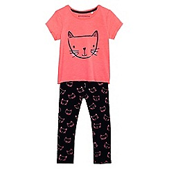 bluezoo - Girls' pink cat print top and navy leggings set