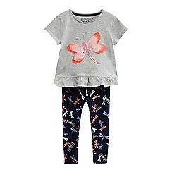 bluezoo - Girls' grey dragonfly applique tunic and navy leggings set