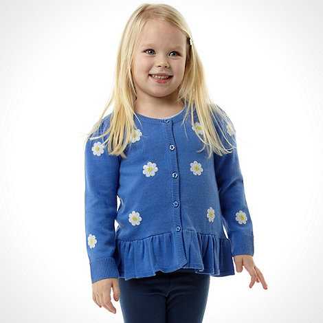 bluezoo - Girl+s blue sequin floral cardigan