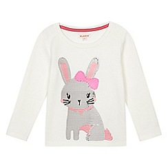 bluezoo - Girls' white sequin bunny sweater