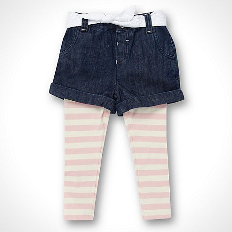 bluezoo - Girl+s blue denim shorts and pink striped leggings