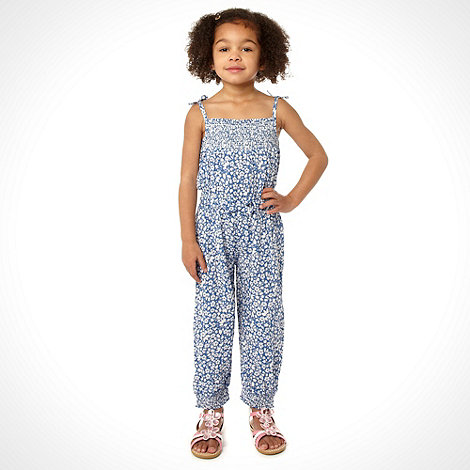 bluezoo - Girl+s blue ditsy print jumpsuit