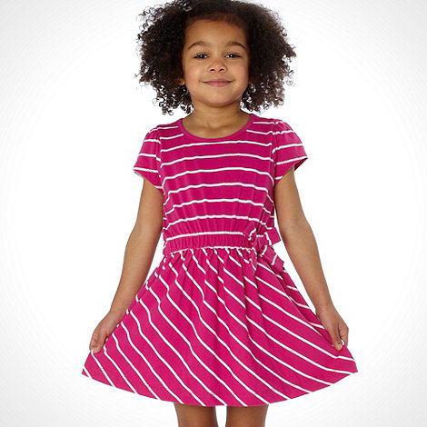 bluezoo - Girl's dark pink striped dress