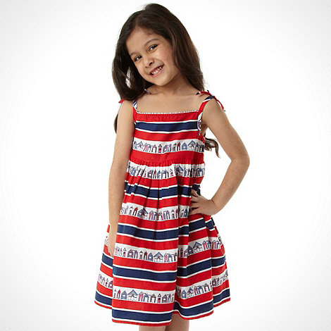 bluezoo - Girl+s red striped house dress