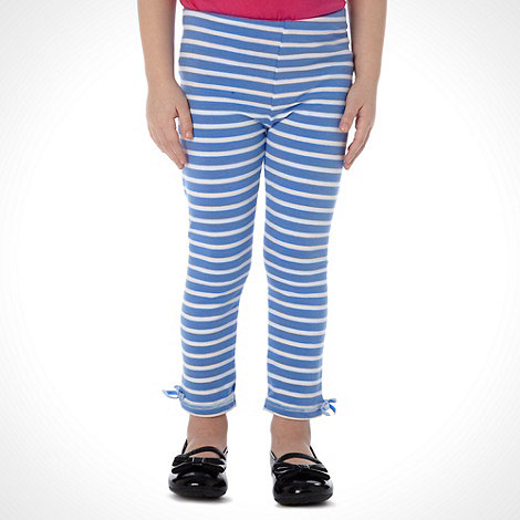 bluezoo - Girl+s pack of two aqua and navy striped leggings