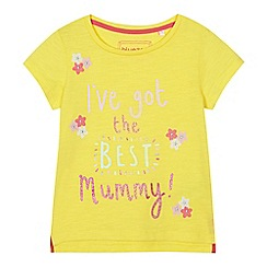 bluezoo - Girls' yellow 'I've got the best mummy' slogan print top